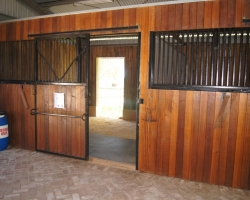 View from inside the horse stable.