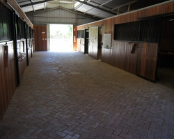 View down stable corridor. Fully paved.